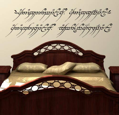 LightningSigns Lord of The Rings Wall Art Decal Sticker One Ring to Rule Them all Elvish LOTR, Extra Large 58cm (H) x 205cm (W)