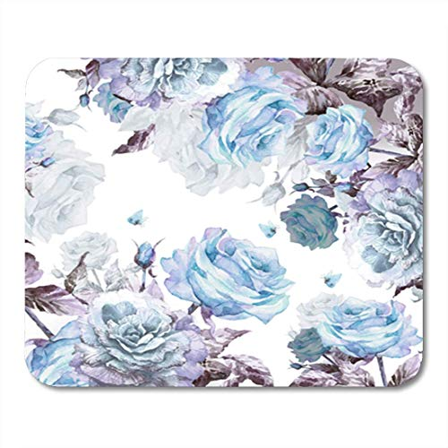 HOTNING Gaming Mauspads Gaming Mouse Pad Colorful Pattern Beautiful Roses Twig Butterflies Garland Watercolor Hand 11.8