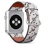 Compatibile con Apple Watch da 42 mm e 44 mm, cinturino in pelle con chiusura in acciaio inox e adattatori (capelli da parrucchiere).