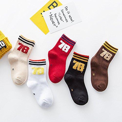 in der Tube socks nubao Kinder socken Baumwollsocken, Junge, gemischte Farben, S (3-5 Jahre alt) 5 Paar (Neugeborene Jungen Tube-socken)