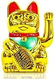 Nick and Ben Winke-Katze Maneki Neko Glücks-Bringer Glückskatze Dekoration Gold XXL Riesige 30 cm Maskottchen aus Plastik