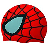 Kids Goods Best Deals - SMCTCRED childrens caps Spiderman Swimming Silicone Swim Head Cap Advanced Silicone Elastomer Cartoon Children Swim Cap (Red)
