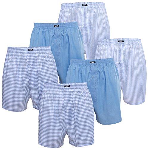 6er Pack MT® Herren Webboxer Shorts - American Boxer - Kariert, gestreift und uni im Pack - Qualität von celodoro Blau