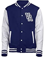 FRONT INITIAL STEP PERSONALISATION VARSITY JACKET (Oxford Navy / Heather Grey) NEW PREMIUM Unisex American Style Letterman College Baseball Custom Top Gift Present Quality AWD Personalised By 123t