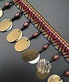 Boho Bohemian baumelnde Perlen Bling Bling Bling Pailletten Fransen Band Spitze Trim für Handwerk Kostüme Zubehör DIY 5Yards Gold sequins