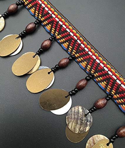 Boho Bohemian baumelnde Perlen Bling Bling Bling Pailletten Fransen Band Spitze Trim für Handwerk Kostüme Zubehör DIY 5Yards Gold sequins (Lampenschirm Hut Kostüm)