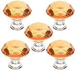 5 PCS 40mm Gelb Kristallglas Diamant Form Türknauf /MöbelKnopf /Möbelgriffe für Küche Schränke, Kleiderschrank, Kommode, Schublade,Schranktür Schlafzimmer und Badezimmer KinderZimmer Dekor etc.