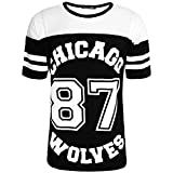 SCO New Womens Ladies Chicago 87 Wolves Baggy Oversize Baseball Jersey T Shirt Dress Long Top