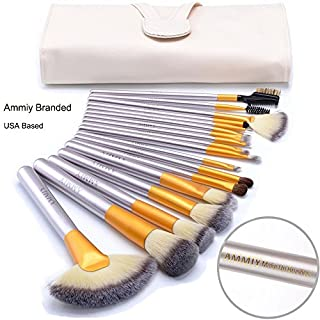 Ammiy Branded 18 Pcs Makeup Brush Set Professional Wood Handle Premium Synthetic Kabuki Foundation Blending Powder Brush Tool (White Case Bag, Located In USA Get Delivered In 3-5 Working Days)