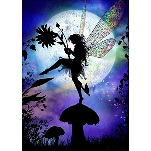 Moonlight Fairy - DIY 5D Diamond Painting by Number Kits, Saihui Crystal Rhinestone Embroidery Pictures Arts Craft for Home Wall Decor Gift (30 * 40cm)