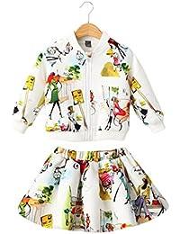 Sanlutoz Niños Conjunto falda chaqueta chica Equipo 2pcs Conjunto de prendas de vestir de chándal de manga larga