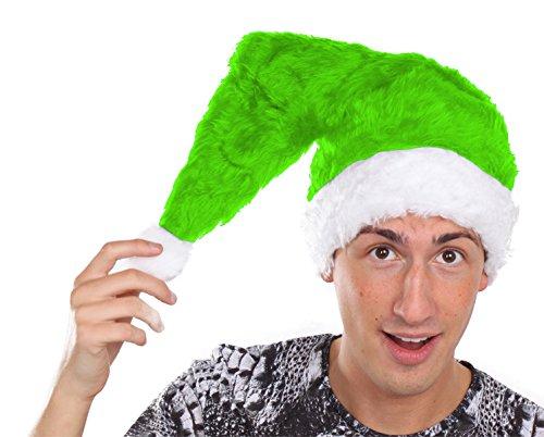 Marco Porta Nikolausmütze Erwachsene Plüsch Weihnachtsmannmütze Plüschmütze Xmas Santa Weihnachten (Grün)
