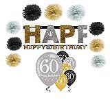 Feste Feiern Geburtstagsdeko Zum 60 Geburtstag I 16 Teile Pompon Girlande Luftballon Gold Schwarz Silber Party Deko Set hapy Birthday