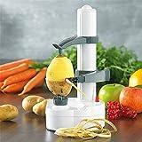 Elektrischer ParaCity-Schäler - automatisch drehbarer Apfel-Schäler - auch für Kartoffeln - Multifunktions-Edelstahl-Schäler-Maschine für Obst und Gemüse White Potato Peeler