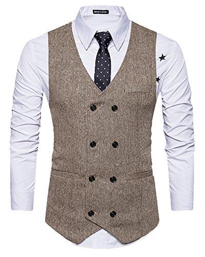 Homme Couleur Unie Rétro Tweed Double Boutonnage Entreprise Gilet De Costume Kaki XL