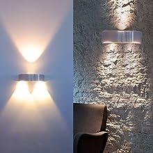Auralum® 2W LED lámpara de pared 150* 125* 115mm lámpara de pared interior aplica 130LM (2800-3200K) techo luz de proyector luz eléctricos
