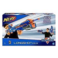 Grande divertimento all'aperto con questo fucile blaster Nerf N-Strike Elite Longshot. Lungo oltre 90 cm. può lanciare le freccette di schiuma a una distanza di 10 m! Mira con precisione e accuratezza utilizzando l'apposito mirino. Include un...