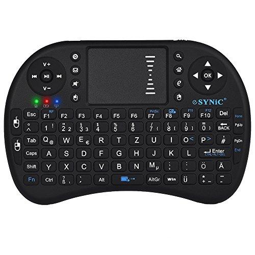 ESYNiC 2,4Ghz Wireless Mini Tastatur mit Touchpad Maus KB061 Kabellos deutsches Tastaturlayout 92 Keys QWERTZ Keyboard inkl. wiederaufladbarer Li-ion Batterie tragbare Handheld Multimedia Tastatur für PC Google Android Smart TV Vivo Box Media Mini TV Stick HTPC IPTV Laptop Raspberry PI PS3 - Schwarz