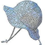 Unisex leicht verstaubarer Sonnenhut 50 UPF, verstellbar, mit Halteband (Mittel: 6-30m, Schlapphut: Weiße Wellen)