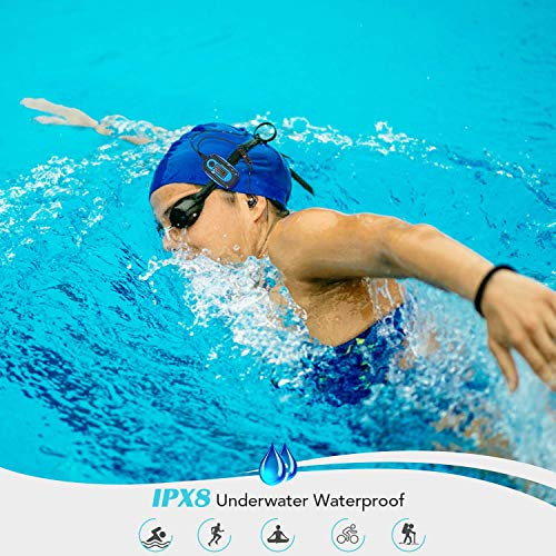 AGPTEK Mp3 Acuatico 8GB con Pantalla,  S07 Clip Reproductor MP3 Waterproof IPX 8 Soporta Rdaio FM,  Aleatorio Modo para Nadar,  Correr,  Azul