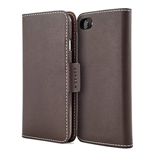 ZENDO iPhone 8/7 Plus Lederetui (Kalbsleder aus Deutschland) mit Kartenschlitz, Magneten, Stehfunktion, Handriemen | Kaiga Lederetui [iPhone 8/7 Plus | Mocca] (Gucci Classic Wallet)