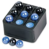 Zoch Mini Travel Tic-Tac-Toe Wood Board Game with Marble Pieces - 3 Inch Blue/Black Set by Launch Innovative Products