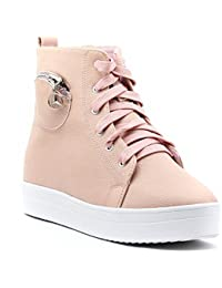 Shuberry Latest Footwear Collection, Comfortable & Fashionable Fabric, Beige Colour Faux Leather Sneakers for Women's & Girl's (SB-276)
