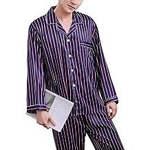 Rojeam Pijamas de satén de Seda de Pareja Ropa de Dormir de Manga Larga Pijama de