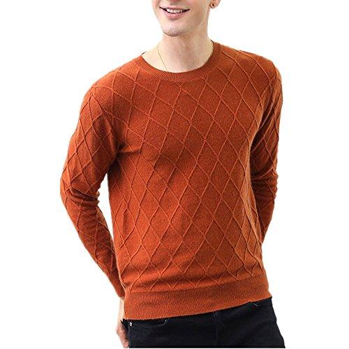 Pullover in cashmere classico a girocollo da uomo, maglie in maglia mista (colore caramello, small)