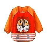 ÄrmelLätzchen Wasserdicht Baby lätzchen - Essen und Play Smock Schürze für Kleinkinder von 6 - 36 Monate (Orange Löwe)