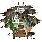 YWLINK Puente Colgante En 3D Puente Roto Pegatinas De Pared Pegatina para El Suelo CalcomaníAs De Murales Removibles Arte De Vinilo SalóN Decoraciones con Estilo
