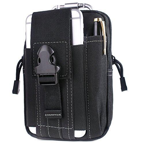Unigear Gürteltasche Compact Outdoor Mehrzweck-Utility Gadget Werkzeug Gürtel Taille Tasche Pack mit Extra Aluminium Karabiner, Black-Gray Thread