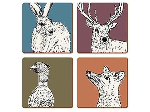 Creative Tops Into The Wild Premium Coasters – Set of 4, Multi Coloured, 4-Piece
