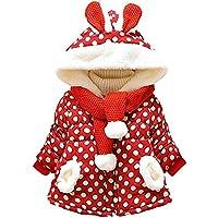 Little Hand Baby Girls Cute Rabbit Ears Hooded Polka Dot Print Winter Warm Coats Jackets Outerwear