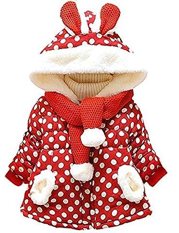 KKia Baby Girls Cute Rabbit Ears Hooded Polka Dot Print Winter Warm Coats Jackets Outerwear (0-6 Months, Polka Dot)