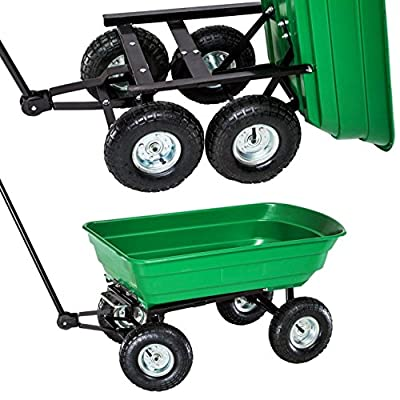 Oypla Heavy Duty Green Garden Cart with Tipping Barrow Trolley