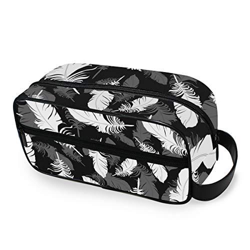 QMIN - Neceser portátil con diseño de Plumas de Animal Bohemio, Bolsa de Viaje multifunción, Bolsa de Maquillaje, Bolsa de Almacenamiento para niños, niñas, Mujeres, Hombres