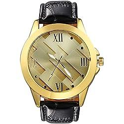 Bodhi2000® Men's Business Faux Leather Watch Band Strap Quartz Wrist Watch Gold