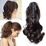 TESS Pferdeschwanz Haarteil Ponytail Extensions Haarverlängerung Clip in Synthetik Haare für Zopf Haarteil Hair Extensions Gewellt 12