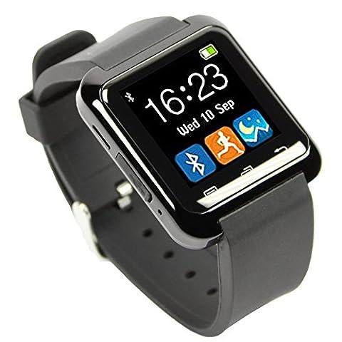 [Version Modifié] HAMSWAN Bluetooth Smart watch Android 4.0 Ecran 1.44 Pouces Support Appel SMS Podomètre Calcultrise Heure Alarm Compatible pour Tous les Android Smartphones Including iPhone, Samsung, HTC, Sony(Noir)
