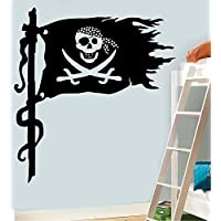 Pirates Flag - MEDIUM - WALL ART VINYL STICKERS 58cm x 52cm - Black