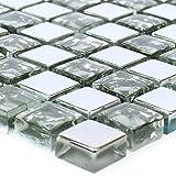 Glasmosaik Fliesen Moldau Silber   Wandverkleidung Bad Badfliesen Badezimmer Badmosaik Steinwand