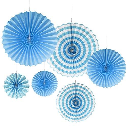 (Gazechimp 6Stück Faltrosetten Dekofächer Deko Rosetten Wabenball Wabenbälle Pompom Papierfächer - Blau, 20 cm)