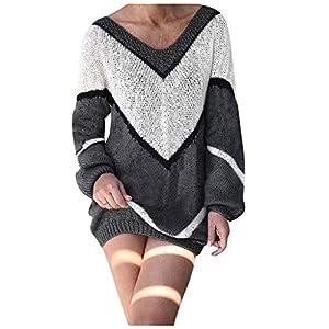 Toasye Farblich Passender, Lockerer Damen-Pullover Mit V-Ausschnitt Frauen Sexy Pullover Kleid Color Block Langarm Minikleid