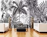 Papier peint Art Print Papier Peint Vintage Noir Et Blanc Os Blanc Tour Peintures Murales Jungle Fond Tv Fond D'Écran 3D,400x280cm