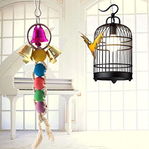Uccello giocattolo da masticare, corda di cotone durevole perline colorate pappagallo arrampicata e perline giocattolo interattivo con ganci piccolo animale domestico gioca campane giocattolo pappagallo forniture