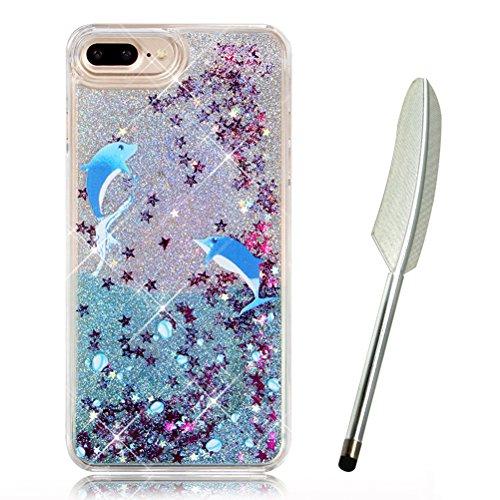 """iPhone 7 Plus Case (5.5""""),iPhone 7 Plus Glitzer Flüssig Hülle,Edaroo Cute Lovely Cartoon Baby Einhorn Regenbogen Sterne Muster Kreativ Flüssigkeit Klar Handytasche Glänzend Glitzer Schwimmend Schwarz  Dolphin"""