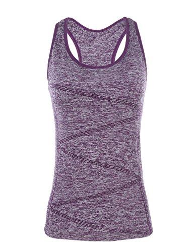 Disbest Sport Weste, Top Sleeveless Tee T-Shirt Nahtlos Tech Tank Dehnbar Athleisure Frauen Yoga Top Camisole für Running Gym Workout mit Unterstützung BH, Violett, M