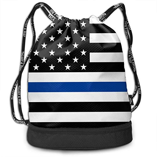 1a19893b19 MLNHY Men & Women Waterproof Large Storage Drawstring Backpack - Support  Police Thin Blue Line American