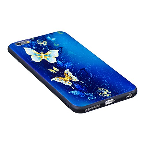Coque iPhone 6 plus/6s Plus, Cozy Hut ® Très Légère iPhone 6 plus/6s Plus Pure Black Ultra-Fine Housse Etui anti chocs Back Cover Bumper Case Anti Scratch Shock Absorption Bumper, iPhone 6 plus/6s Plu papillon bleu